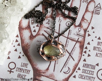 Copper seashell mermaid electroformed necklace pendant with rutilated crystal