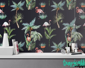 Flamingo Wallpaper - Removable Wallpapers - Floral Palm Tree Print Wallpaper - Self Adhesive Wall Decal - Temporary Peel and Stick Wall Art