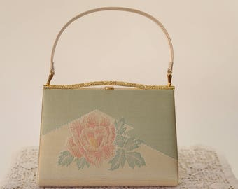 Purse 1970s Clutch with gold floral Sparkly pink green handbag