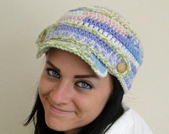 Hand Crochet Pink, Green and Blue Newsboy Hat