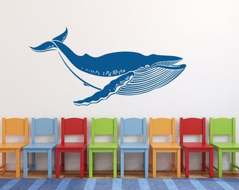 Whale Wall Decal Art Kids Playroom Bedroom Nursery Vinyl Wall Decor