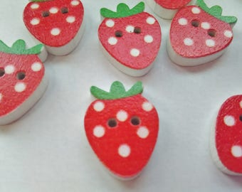 """10 Red Strawberry Buttons 20mm (3/4"""") Strawberry Focal Sewing Buttons, Children's Clothes, Fruit Buttons, Kids Crafts Scrapbooking"""