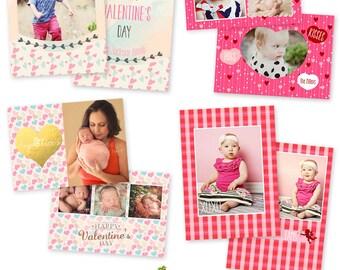 INSTANT DOWNLOAD 5x7 Valentine Birth Announcement Card Bundle Photoshop Templates - CA563B