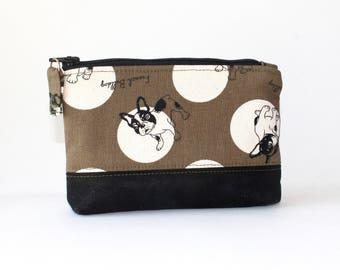 Small Zipper Pouch. Small Zipper Coin Purse. Dog Pouch. Small Zipper Bag in Khaki Green with French Bulldogs
