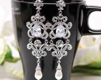 Crystal Chandelier Earrings Wedding Jewelry Statement Bridal Jewelry Victorian Earrings Cubic Zirconia Jewelry Rhinestone Jewelry MAYA