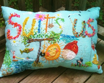 Custom Theme One Of A Kind OVERSIZED Freehand Bohemian Embroidered ANY Phrase Pillow Made To Order YelliKelli