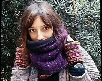 scarf hood double face,unisex in warm cotton&chenille,Cowl Shrug Hat,scaldacollo ad anello,sciarpa cappuccio
