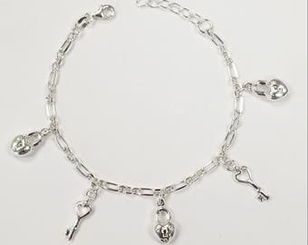 Sterlign Silver Heart Lock and Key Charm Bracelet