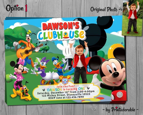 Mickey Mouse Clubhouse Invitation - Mickey Clubhouse - Mickey Invite - Mickey Invitation - Clubhouse Invitation - Disney Mickey