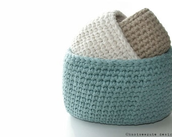CROCHET PATTERN - Oval Cotton Storage Bins - Instant Download (PDF)