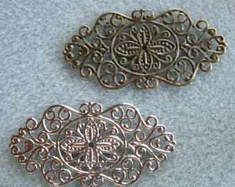 Antique Bronze or Silver Filigree Mix 45mm x 23mm Lead Free 535