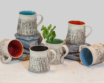 10 handmade mug set, Large coffee Mug set, handmade tea cup set, Stoneware mug set, wheel thrown Cup, Pottery ceramic mug set, Birthday gift
