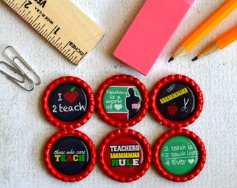 Teacher Gift- Bottlecap Magnets- Thank you Gift- Teacher Appreciation- Teacher Birthday, Teacher Christmas- Teacher Love- School Magnets