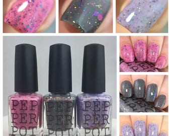 Indie Shop Nail Polish Limited Edition Collection Chrome Flakies Glitter Nail Polish Pepper Pot Polish Gift Under 40