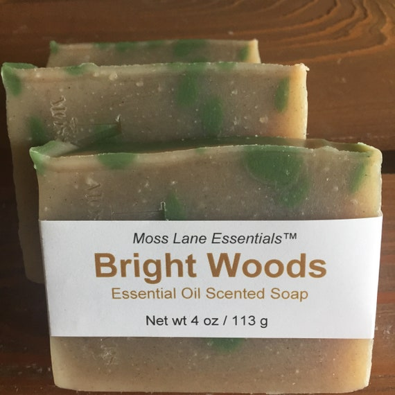 Bright Woods Essential Oil Scented Cold Process Soap with Shea Butter--Petitgrain, Clary Sage and Cedarwood