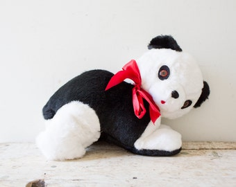 Vintage Plush Panda Bear Foam Filled- Ideal Toy Company USA Black White Panda Stuffed Teddybear Cutesy Carnival Prize Plush Soft Toy 1950s