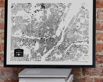 CityFabric Munich City Buildings Map Print