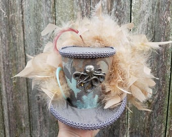Mini top hat with lights, Steampunk, Mardi Gras, Halloween, Wedding, Festival, Octopus