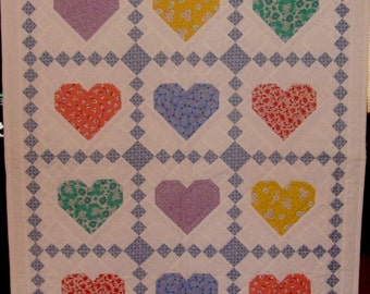 30's Reproduction Heart Crib Quilt