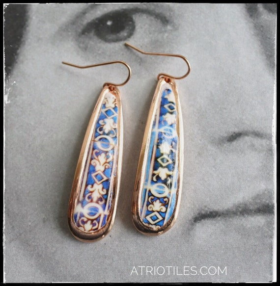 """Earrings ATRIO Tile Portugal Antique Azulejo -  2""""  The Palace of the Marquesses of Fronteira rose gold tone"""