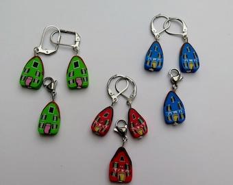 "Earring and Charm set "" Burano"""