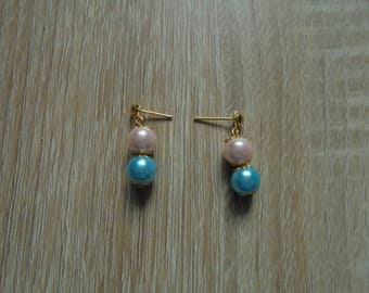 Stud Earrings, fancy beads and gold
