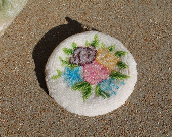Beaded Coin Purse, Vintage Beaded Coin Purse Delill Original, Glass Beads Beaded Floral, Flower Coin Purse, Vintage Coin Purse, Accessory