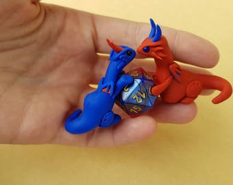 Polymer clay double dragon statue - Gemini d20