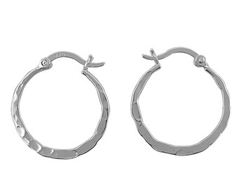 Sterling Silver Hammered Hoops/Flat Hammered Hoops/Hoop Earrings/.925 Sterling Silver/Everyday Hoops/Flat Hoops/Every Day Hoops/Round Hoops