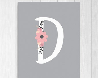 """Girls Floral Monogram, Nursery Letter """"D"""", Pink and Gray Nursery Decor, Personalized Baby Gift, Pink and Grey Instant Download Printable"""