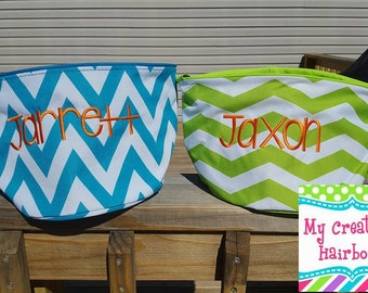 Halloween Bucket or Easter Bucket Monogrammed can Monogram with names/ initals. Lime, Grey, Navy, Pink Polka Dot, Pink ,Purple Chevron