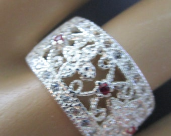 Exquisite Sterling Silver Genuine Ruby Filigree Ring Size 8