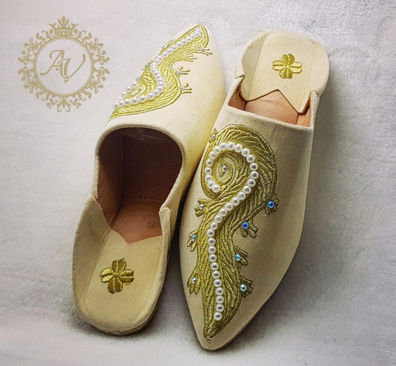 Moroccan Handmade Babouche Moroccan Pointed Suede Babouche Women Suede Sheepskin Beige Slippers Slippers Slippers rqwxr
