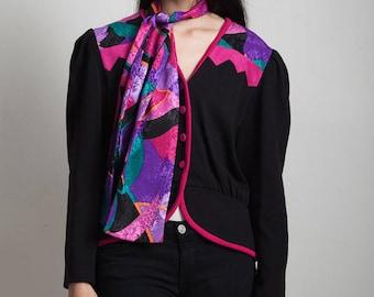 peplum knit top tulip matching scarf shoulder pads black pink vintage 80s LARGE L