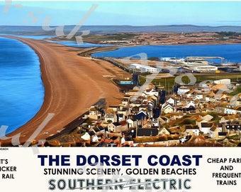 Vintage Style Railway Poster Chesil Beach Dorset Coast A3/A2 Print