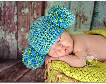 Newborn Photo Prop, Baby Girl or Boy Hat, Newborn Hat, Toddler Hat, Double Pom Pom Hat, two Pom Pom Hat
