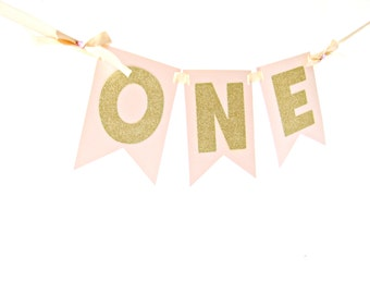 Pink & Gold One Highchair Banner -  ONE High Chair Banner, Pink and Gold Party, I am one banner, first birthday banner, highchair banner