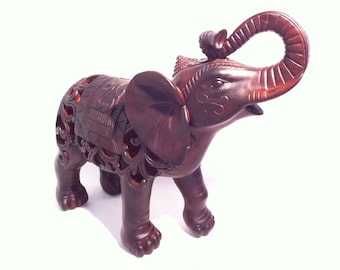 Indian Elephant Carved Statue - Wild Animal Sculpture Hollow  - Asian Home or Garden Decor