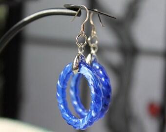 Blue Rope Circle Earrings