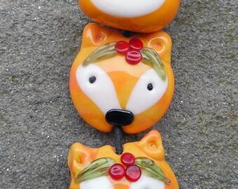 Foxy Focal Lampwork Bead Trio