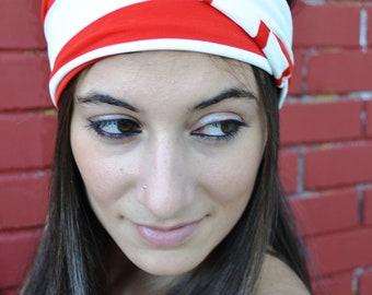 Jersey Headband White Elastic with Red Lines, Boho Headband, Boho Fall Accessory, Fall Headband, Girls Head Wrap, Bohemian Headband, Turban