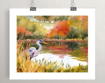 Great blue heron art print, autumn watercolor painting, pond decor by Janet Zeh Original Art