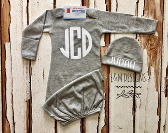 Baby Boy Coming Home Outfit/ Personalized Infant Baby Gown and Hat/ Monogrammed Baby Boy/ Baby Shower Gift/ Newborn Pictures/ GRAY AND WHITE