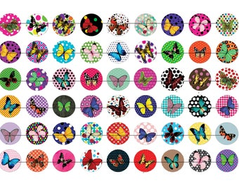 25 mm Digital Images for cabochon or polka dot butterfly image transfer