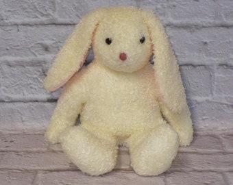 "1991 Ty Creamy White CURLY BUNNY Rabbit Plush Stuffed Animal 17"" long Beanie Classic"
