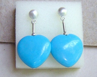 Sterling Silver & Blue Turquoise Hearts Dangle Post Earrings