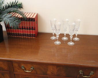 Beautiful Vintage Cut Lead Crystal Champagne Flutes set of 5