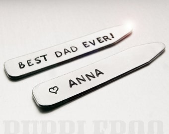 Hand-stamped personalised Collar Stiffeners (pair) - Collar Stays - Shirt accessories - For him - Wedding - Groom