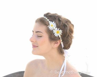 Daisy Chain Flower Ribbon Tie Bohimian Headband, Flower Girl Headband Headbands For Women and Teens, Boho Wedding Hair, Hippie
