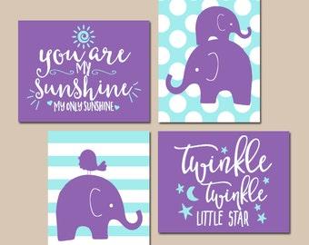 Girl Elephant Nursery Wall Art, Purple Aqua Nursery Decor, You Are My Sunshine, Twinkle Little Star, Baby Girl Quotes Decor, Set of 4
